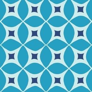 Mid century Modern blue geometric pattern with retro starburst