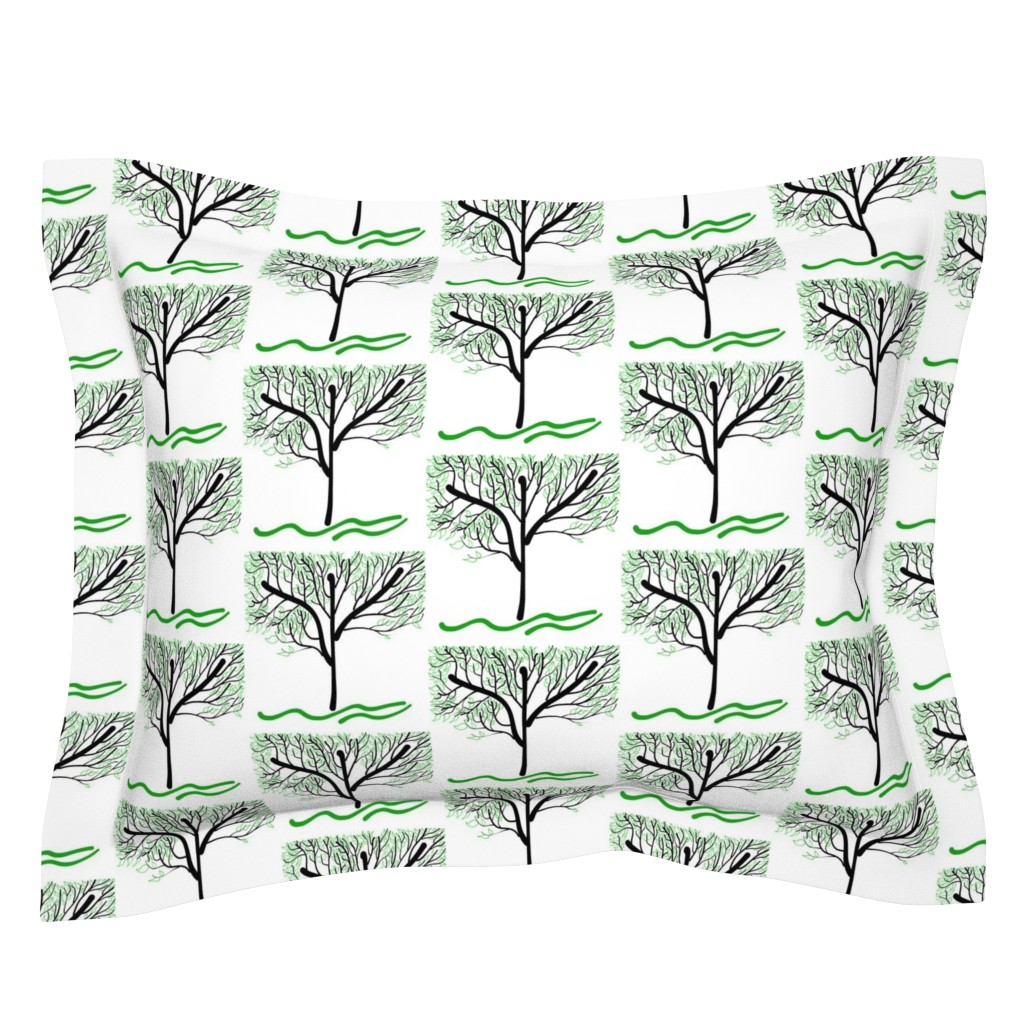 Sebright Pillow Sham featuring Trees Breathe Life (summer) - open leaves by bravenewart