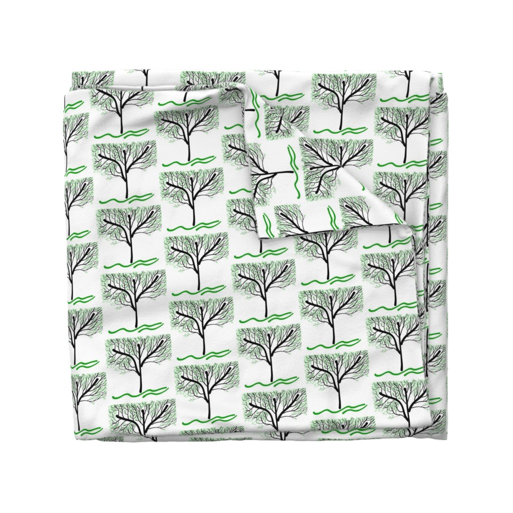 Wyandotte Duvet Cover featuring Trees Breathe Life (summer) - open leaves by bravenewart