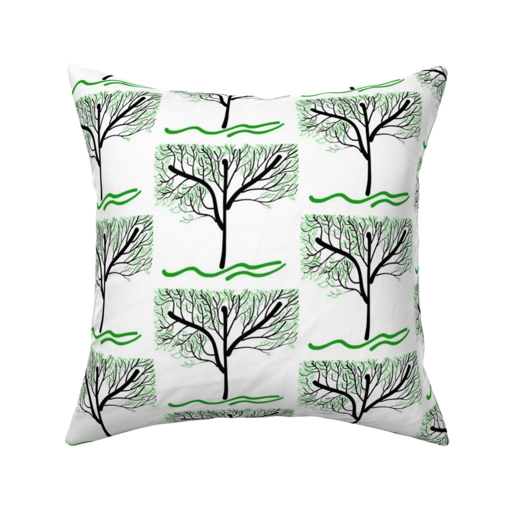 Catalan Throw Pillow featuring Trees Breathe Life (summer) - open leaves by bravenewart