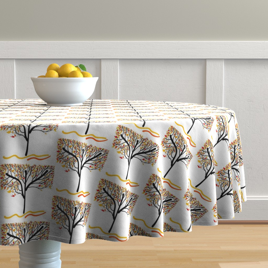 Malay Round Tablecloth featuring Trees Breathe Life (Autumn) by bravenewart