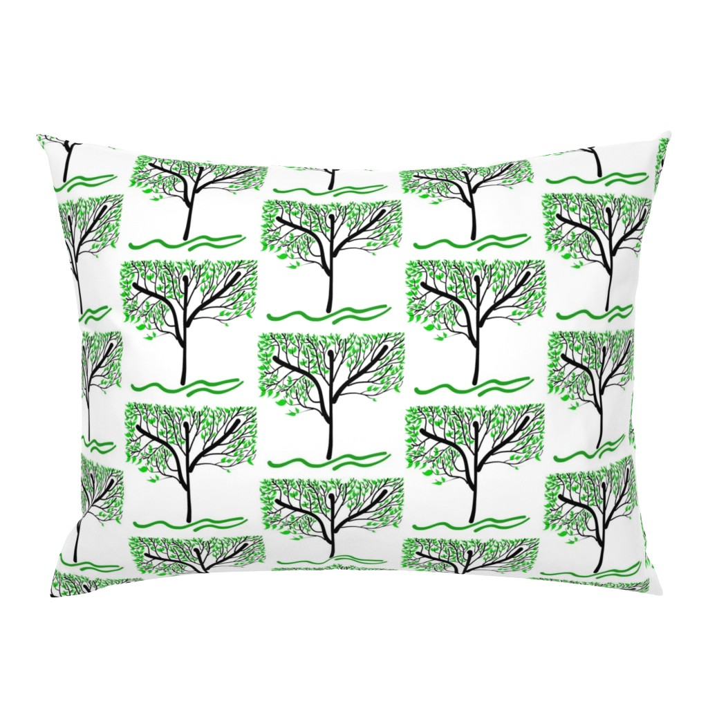 Campine Pillow Sham featuring Trees Breathe Life (summer) - closed leaves by bravenewart