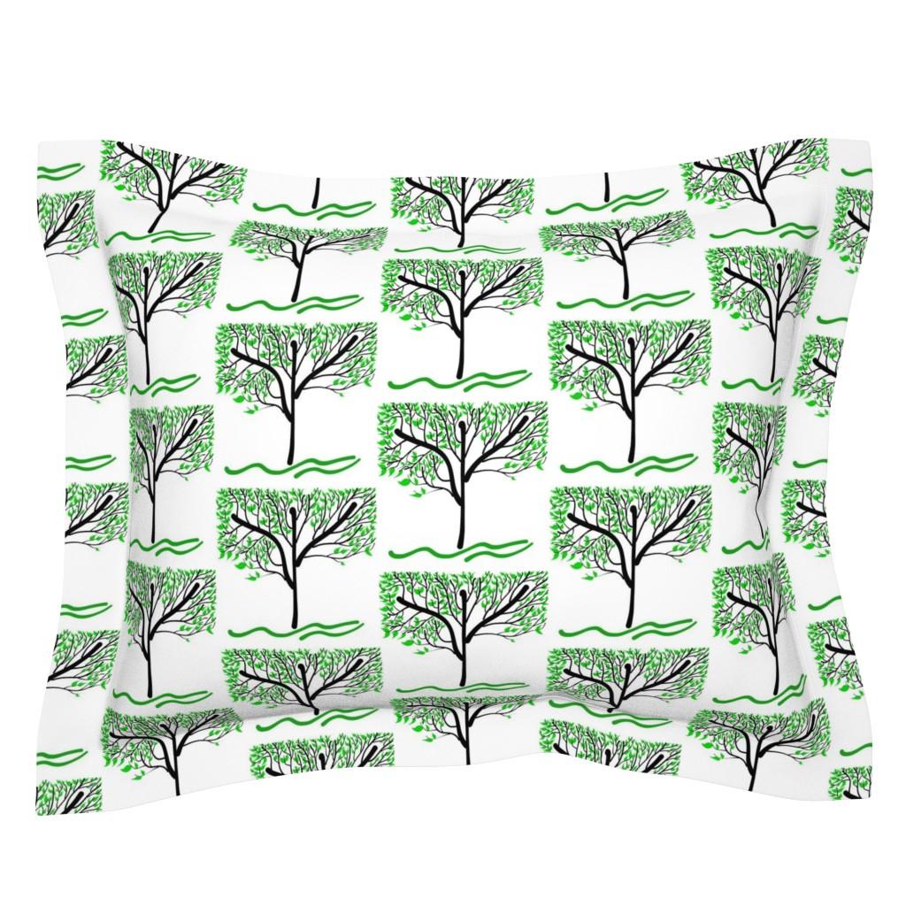 Sebright Pillow Sham featuring Trees Breathe Life (summer) - closed leaves by bravenewart