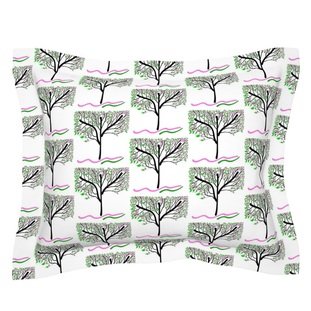 Sebright Pillow Sham featuring Trees Breathe Life (spring) - closed leaves by bravenewart