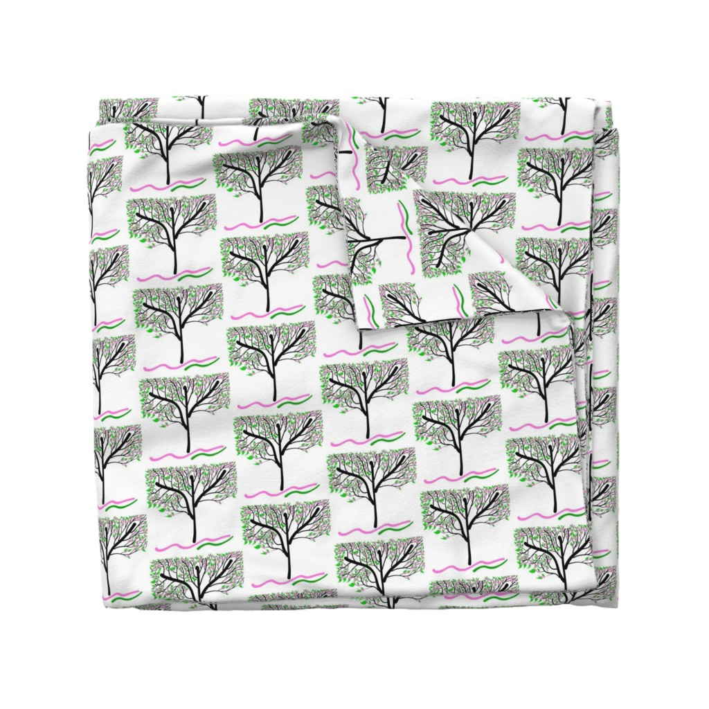 Wyandotte Duvet Cover featuring Trees Breathe Life (spring) - closed leaves by bravenewart