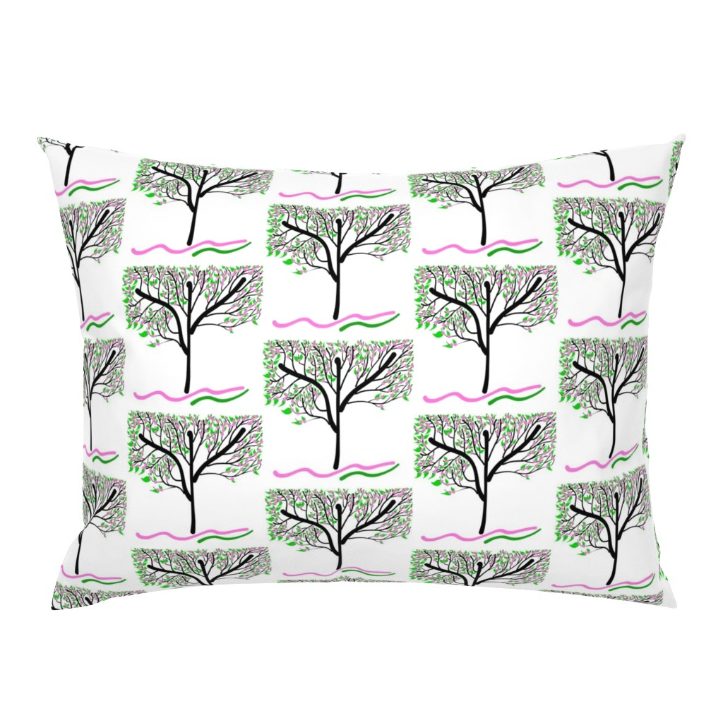 Campine Pillow Sham featuring Trees Breathe Life (spring) - closed leaves by bravenewart