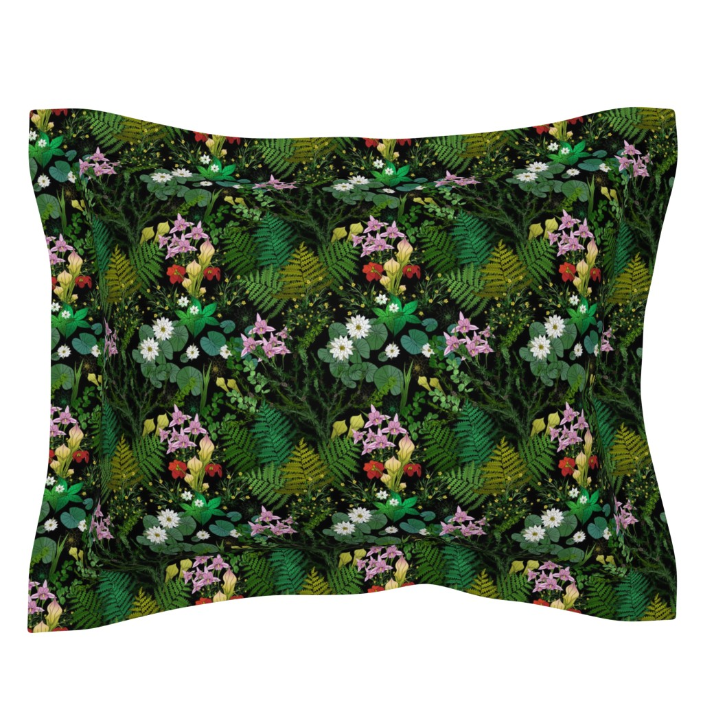 Sebright Pillow Sham featuring Botanical Bog Water Garden by irishvikingdesigns