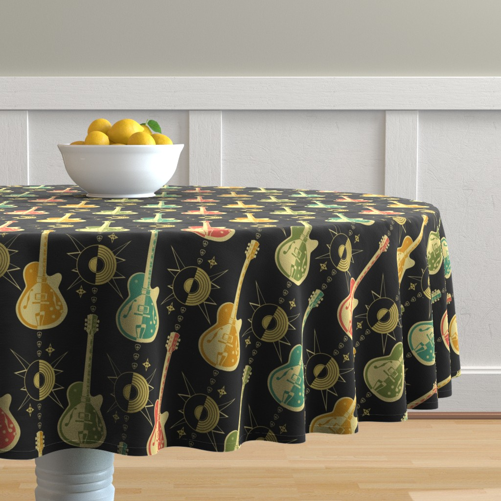Malay Round Tablecloth featuring Harlequin Guitars by studioxtine