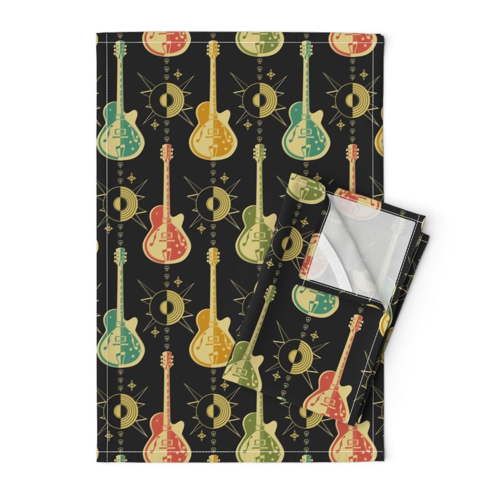 Orpington Tea Towels featuring Harlequin Guitars by studioxtine
