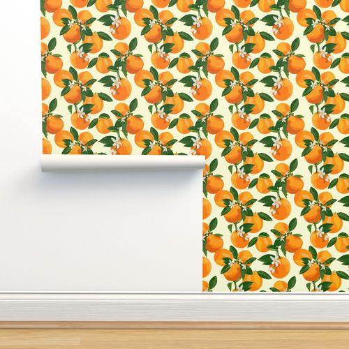 Aruba Ocre papier peint floral oiseaux fruits fleurs finition lisse Coller Au Mur