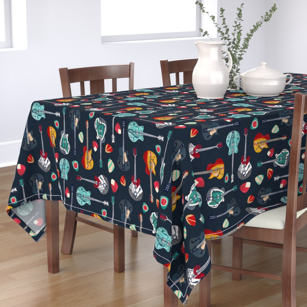 Bantam Rectangular Tablecloth featuring Rockabilly Rock by gingerlique