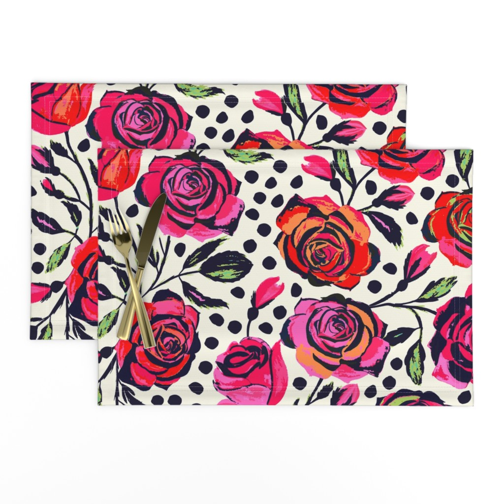 Lamona Cloth Placemats featuring Rockabilly Roses by jill_o_connor
