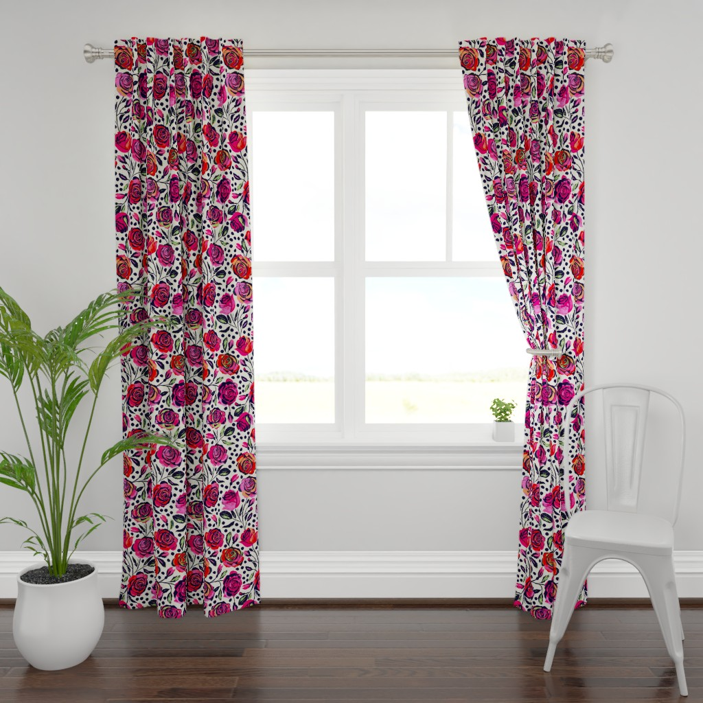Plymouth Curtain Panel featuring Rockabilly Roses by jill_o_connor