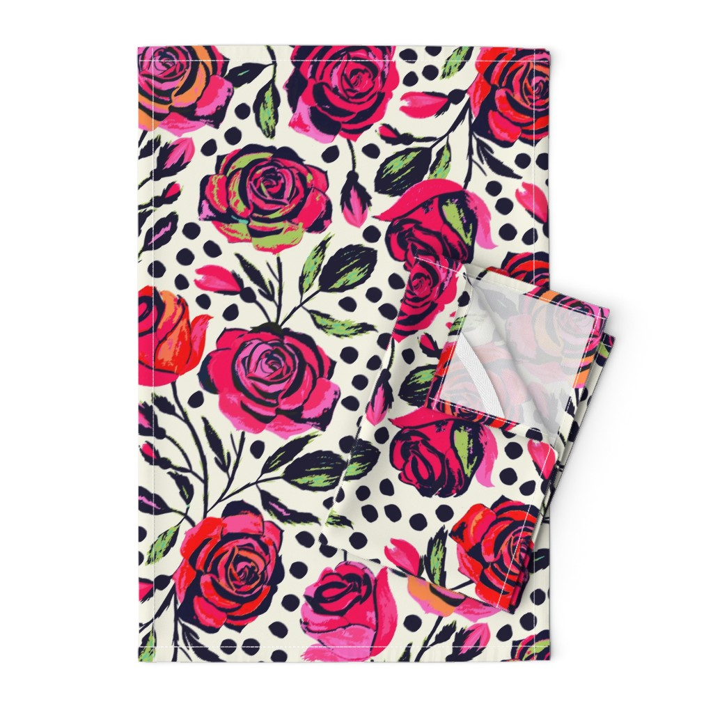 Orpington Tea Towels featuring Rockabilly Roses by jill_o_connor