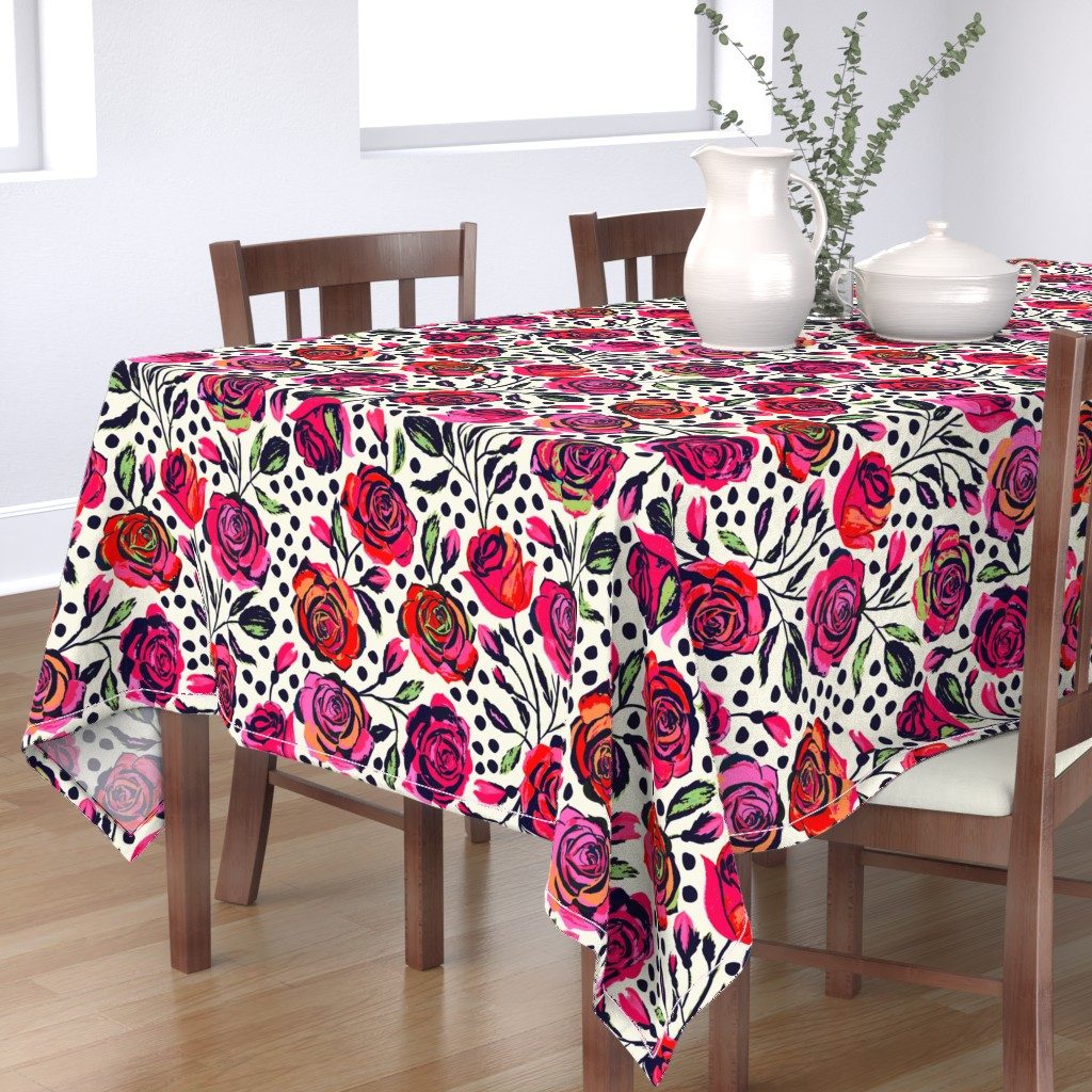 Bantam Rectangular Tablecloth featuring Rockabilly Roses by jill_o_connor