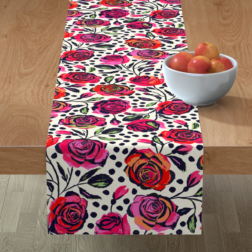 Minorca Table Runner featuring Rockabilly Roses by jill_o_connor