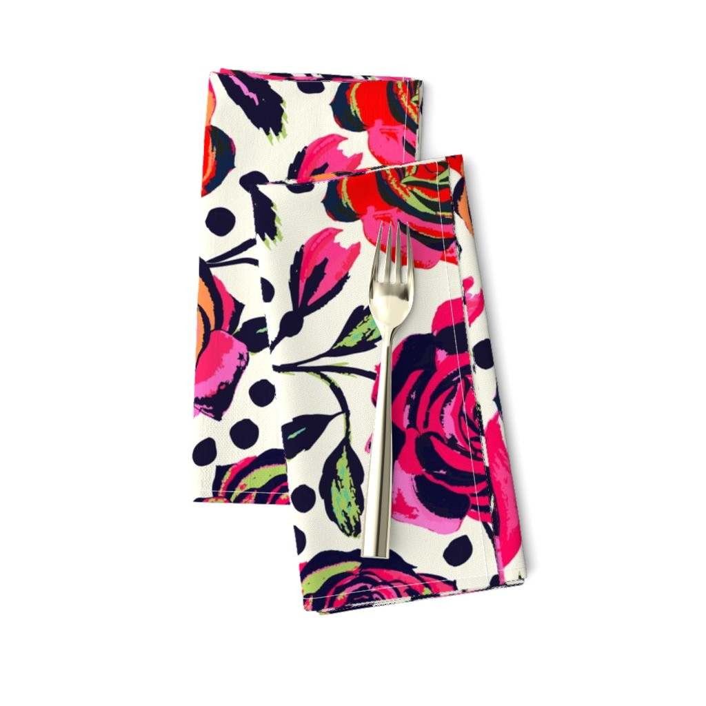 Amarela Dinner Napkins featuring Rockabilly Roses by jill_o_connor