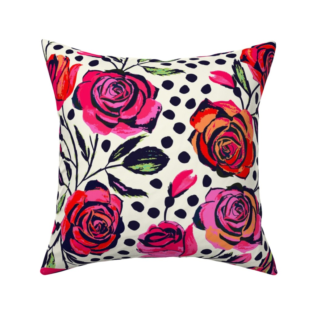 Catalan Throw Pillow featuring Rockabilly Roses by jill_o_connor