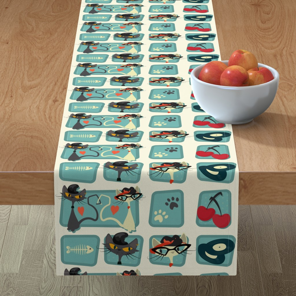 Minorca Table Runner featuring Rockabilly Cats by roofdog_designs