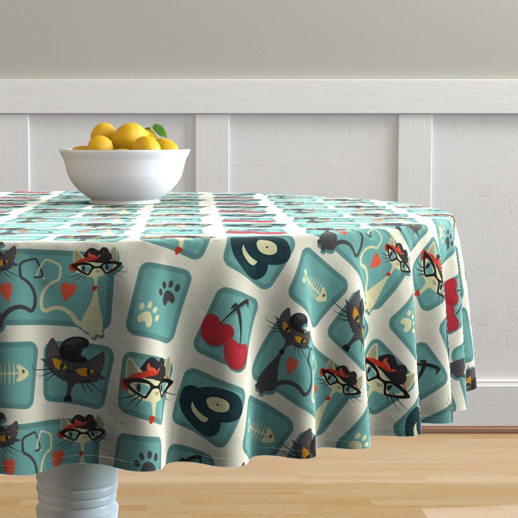 Malay Round Tablecloth featuring Rockabilly Cats by roofdog_designs