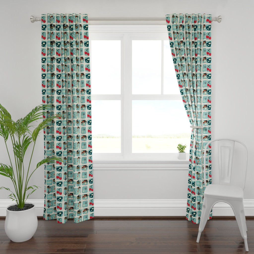 Plymouth Curtain Panel featuring Rockabilly Cats by roofdog_designs