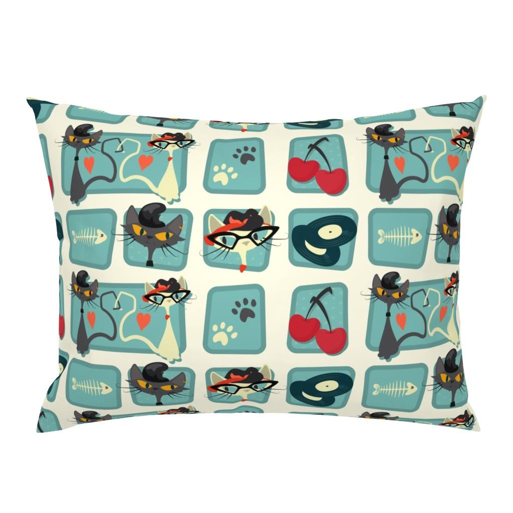 Campine Pillow Sham featuring Rockabilly Cats by roofdog_designs