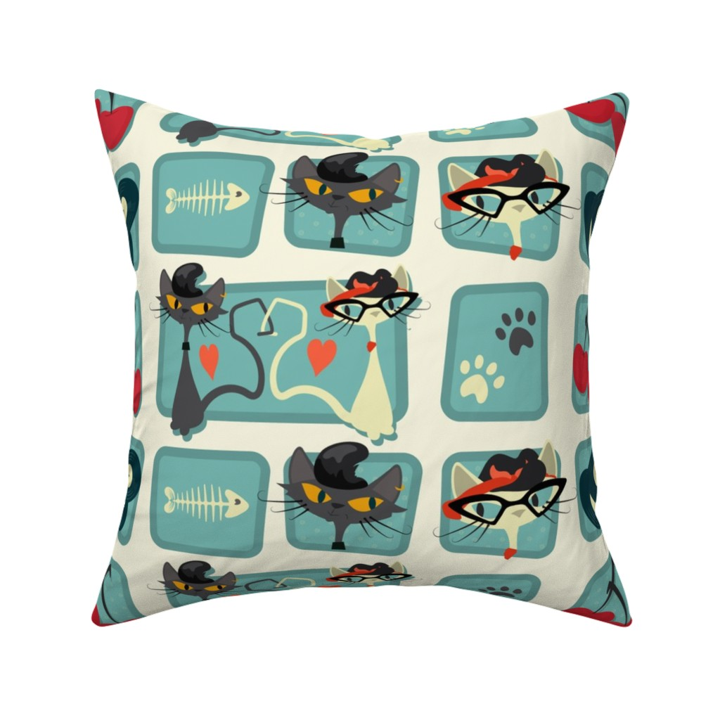 Catalan Throw Pillow featuring Rockabilly Cats by roofdog_designs