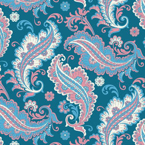 Paisley in blue pink