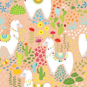 cute Llama and flowers for girls