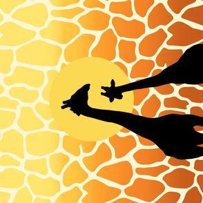 Giraffe Couple at Sunset Tea Towel