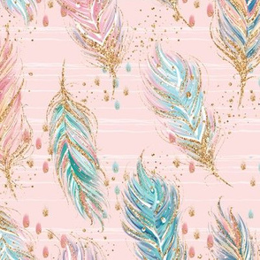 Feathers on blush pink