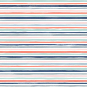 Small Watercolor Stripes M+M Coral Blues by Friztin