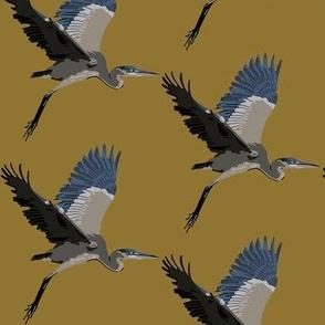 Harold the Heron in ochre - small