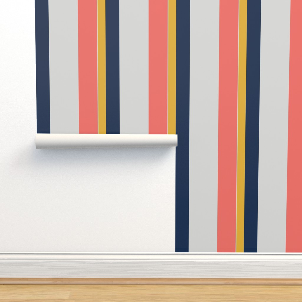 Isobar Durable Wallpaper featuring Nautical Stripes lving coral by colour_angel_by_kv