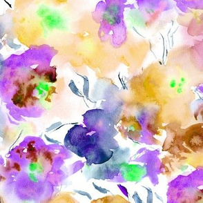 blooming bouquet in coral and purple || watercolor floral
