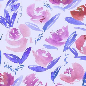 'Thea' on blue • watercolor floral