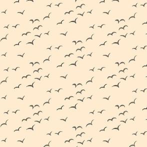 The Birds - birds in black and cream line art