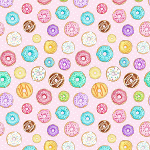 Scattered Rainbow Donuts on pale pink spotty - medium scale