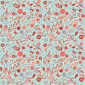 summer meadow | coral, red and blue