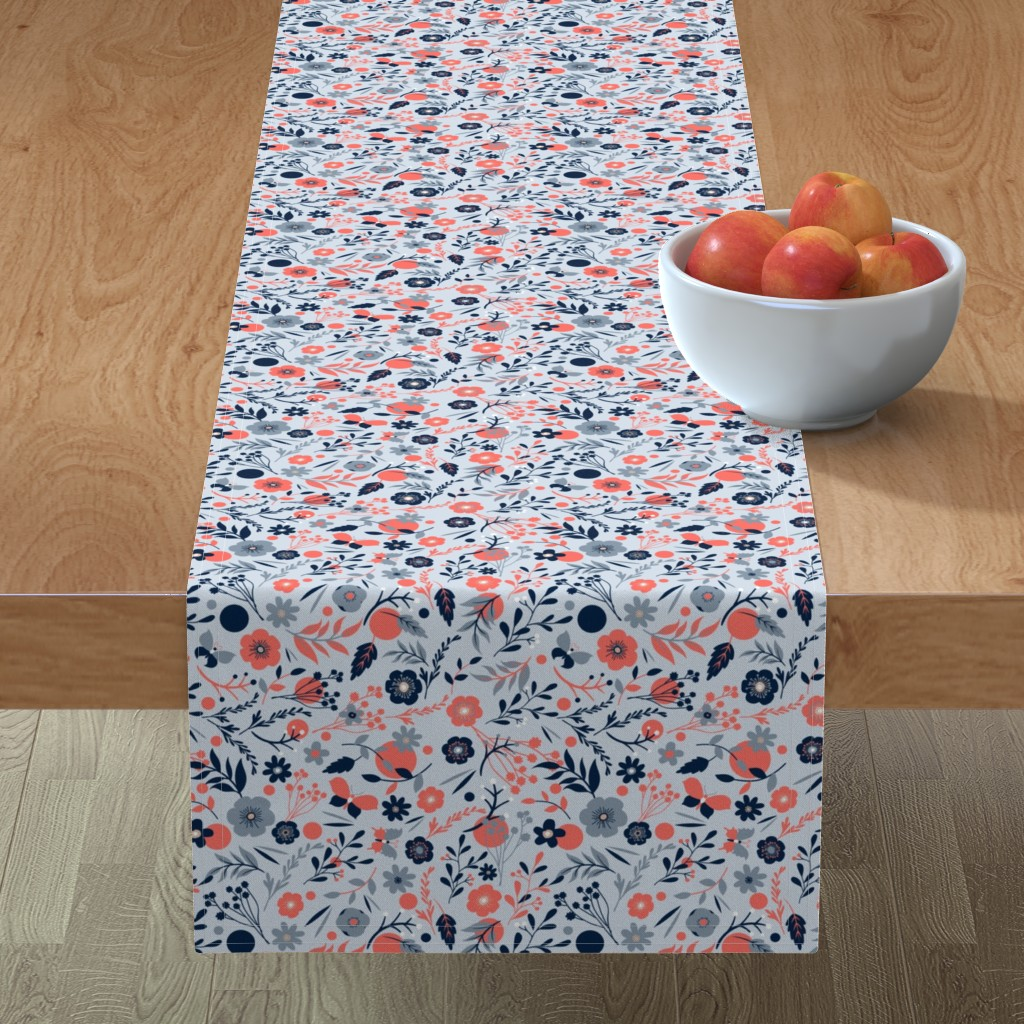 Minorca Table Runner featuring summer meadow   coral + blue by colorofmagic