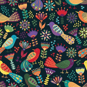 Colorful Folk Birds and Flowers, Playful and Happy Animals on Dark Background