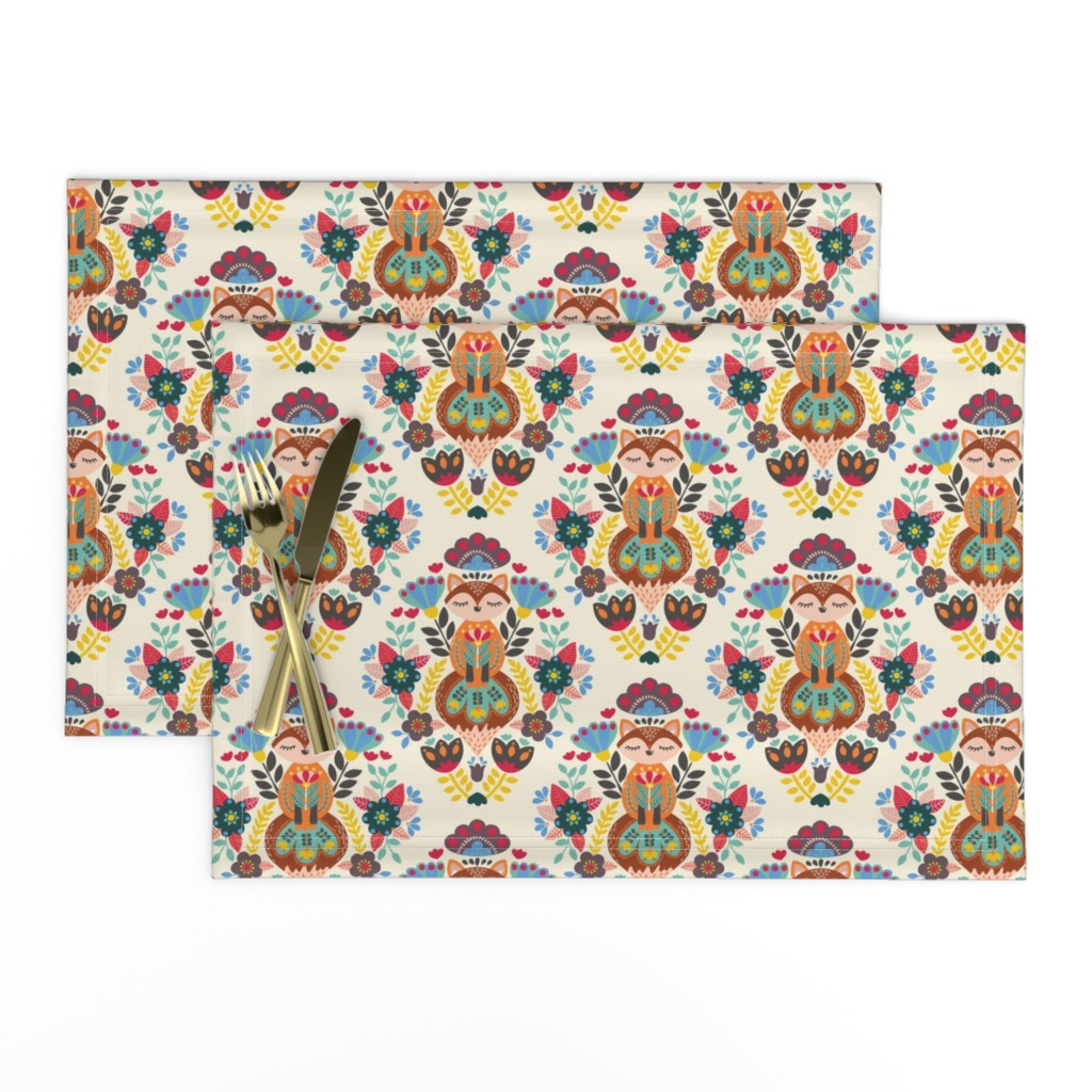 Lamona Cloth Placemats featuring Peaceful and Colorful Fox by ozdebayer