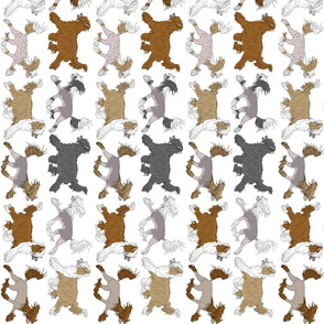 Trotting Chinese Crested border vertical - white