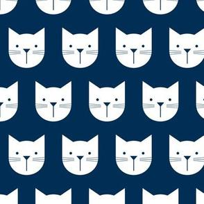 Peekaboo Cats, White on Navy Blue