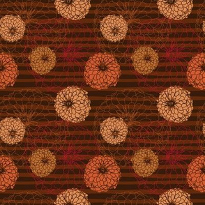 dahlia floral on chocolate stripes