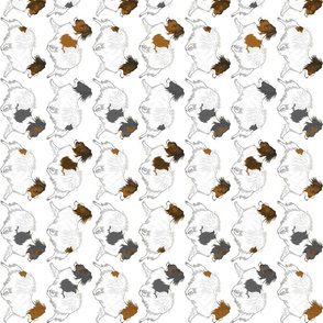 Trotting Papillon border vertical - white