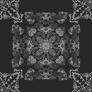 Black and White Baroque on Charcoal Grey