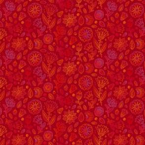 Red vintage doodle flowers pattern