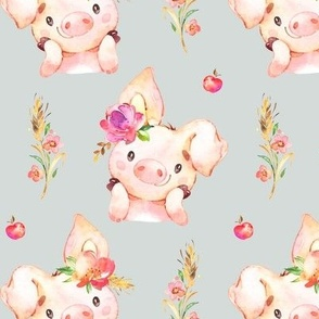 Miss Piglet - Baby Girl Pig with Flowers & Apples (frost gray) - LARGER Scale