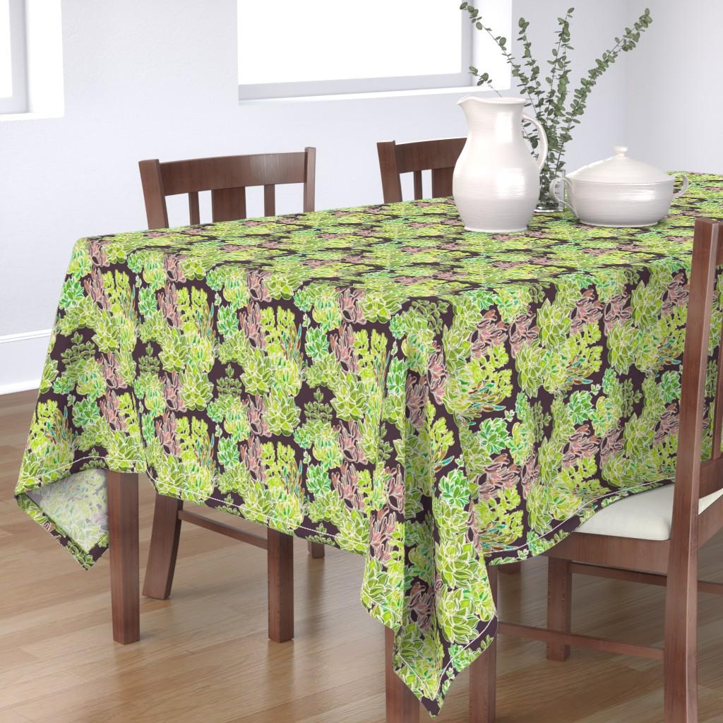 Bantam Rectangular Tablecloth featuring Modern Desert - Succulents on Plum Background by lisakling